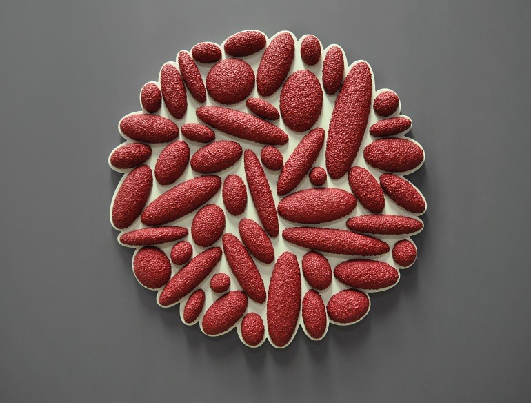 Image- Red Sculpture- David Drumlin, Drops Series- b shaped in circular form