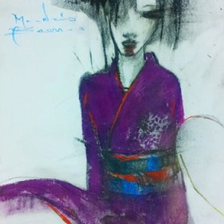 Image-, Japan Geisha 2012, oil on canvas by the Multimedia Artist Maurizio Barraco is the painting of Geisha dressed in a purple kimono