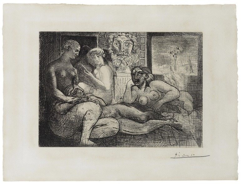 Image- Pablo Picasso's Quatre femmes nues et tête sculptée, Plate 82 from La suite Vollard. (Spanish, 1881-1973), shows why the artist is a celebrity in art history