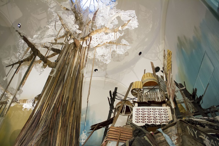 Image- tree-trash-boat- One of the tress constituting Swoon Submerged Motherlands instalation at the  Brooklyn Museum