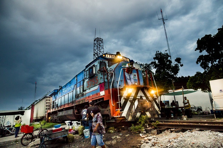 Image-Train-Locomotive- The train at the fish market help transport people and goods