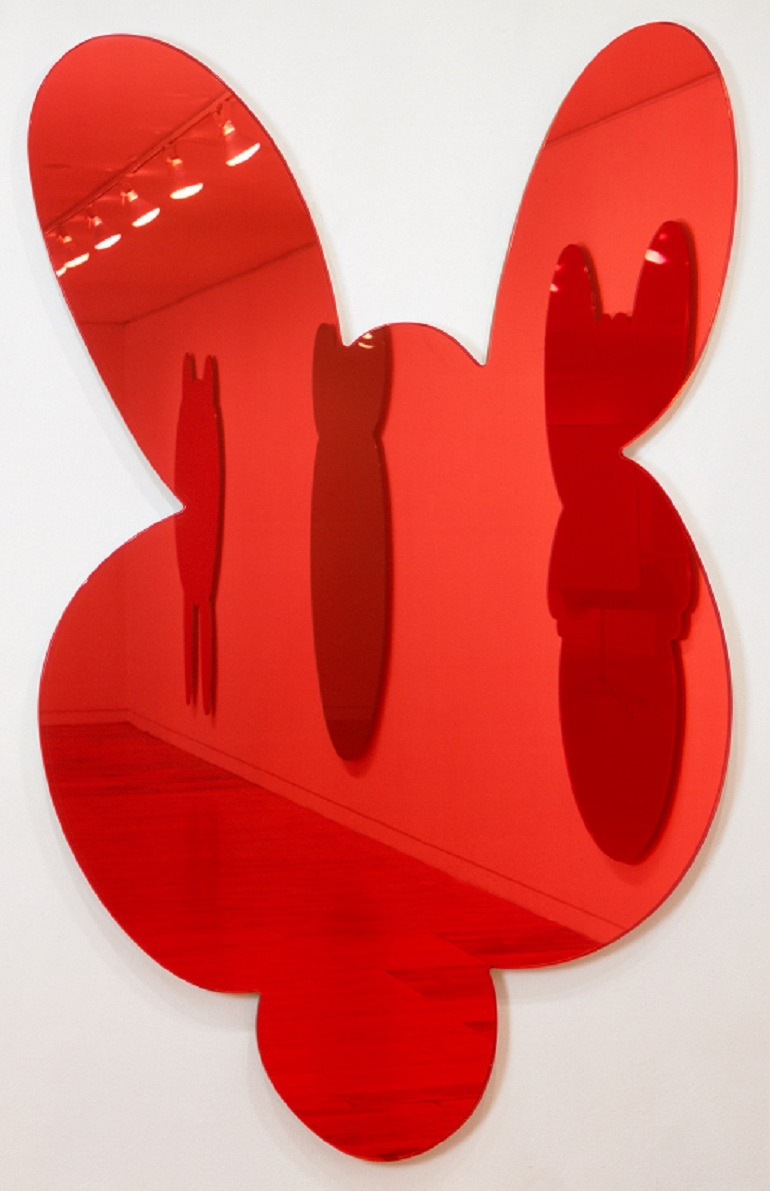 Image: Jeff Koons, Kangaroo- Red- 1999 is a two dimensional sculpture made from crystal glass, mirrored glass, carbon fiber, foam, colored plastic interlayer, and stainless steel is on display at the Whitney Museum of American Art