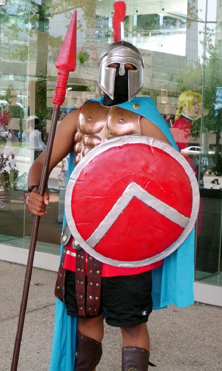 Image King Leonidas character from 300 at the Baltimore Convention Center during the opening ceremony