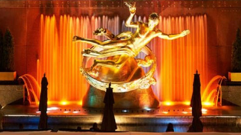 Image: Prometheus 1934, a monumental sculpture by Paul Manship at the Rockefeller Center is one of the most celebrated images in New York City