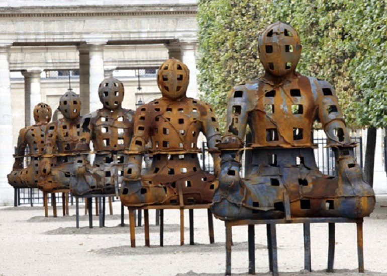 Image: Metal sculpture of Guardians by Xavier Mascaró, whose works are presently on display at the Saatchi Gallery, London
