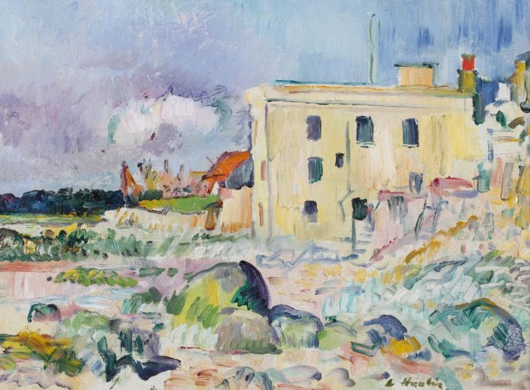 Image: Landscape painting titled The Crusoe Hotel, Lower Largo by George Leslie Hunter, a British, 1877-1931, was one the works by Scottish famous artists and colorists at Bonhams auction