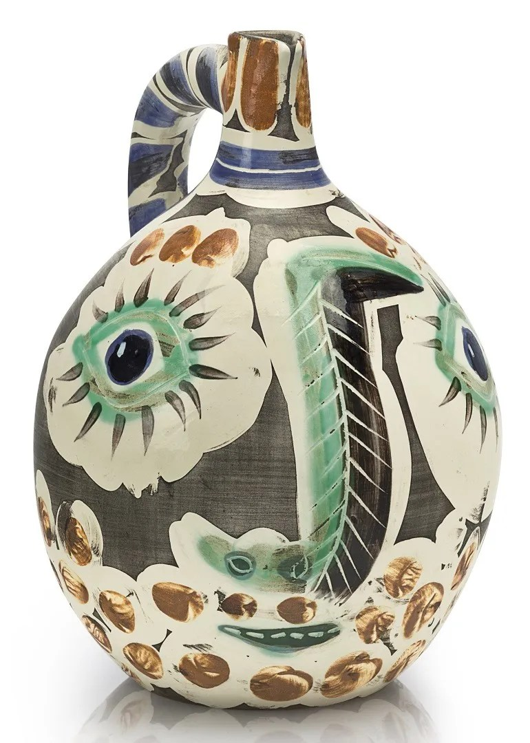 Image: Pablo Picasso, Visage au nez noir is well decorated ceramic vase with eyes and bullfighting -Ceramics Art
