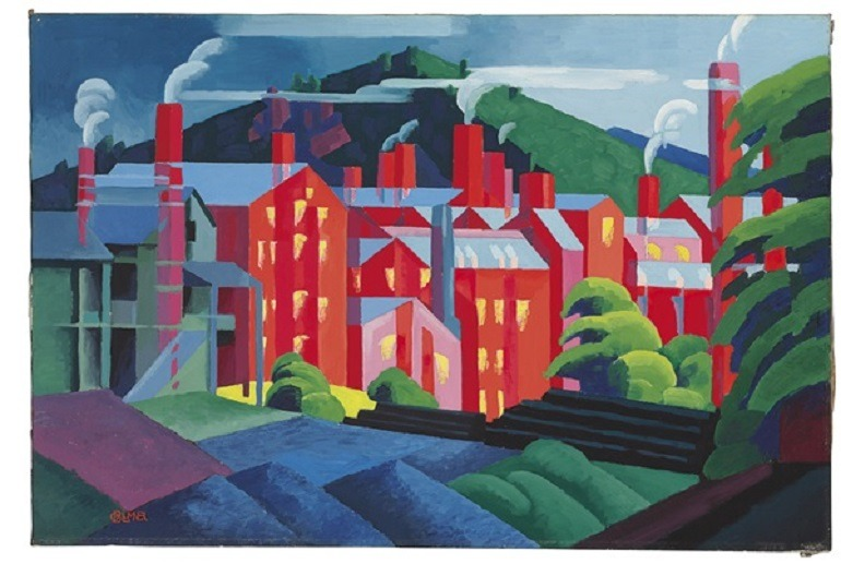 Image: Jersey Silkmills, an oil on canvas painting by Oscar Florianus Bluemner (1867-1938), shows Silkmills emitting smoke into the atmosphere -American Art