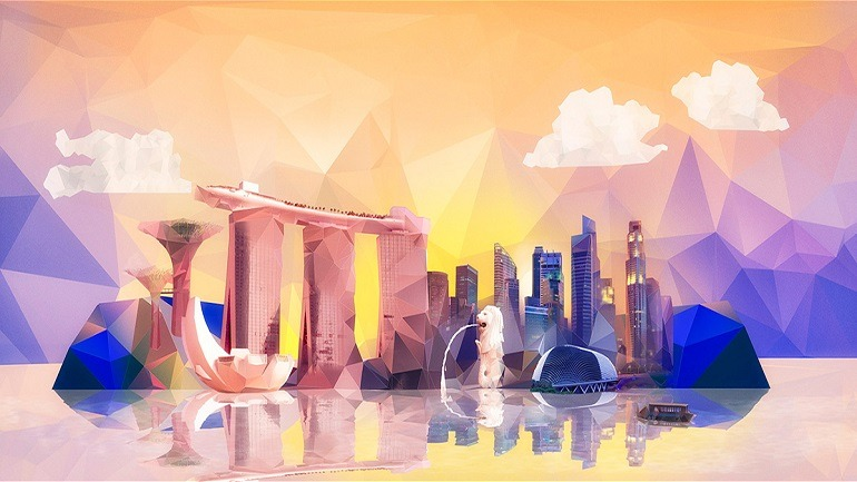 Image: Visual for Adobe Summit 2014 in Singapore designed by Vasava includes famous landmarks like Marina Bay Sands, Merlion, Steel trees, other important architecture and sculptures