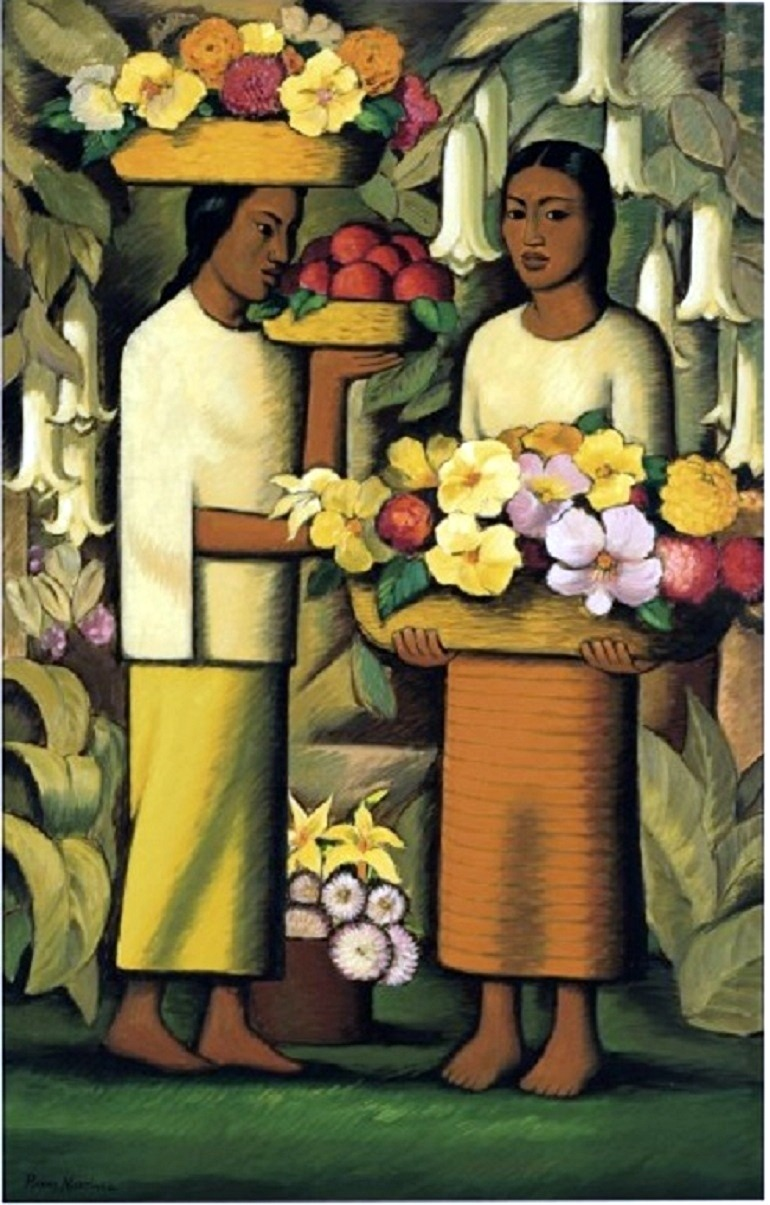 Image: Alfredo Ramos Martínez oil on canvas painting titled Mujeres con flores -Latin American Art