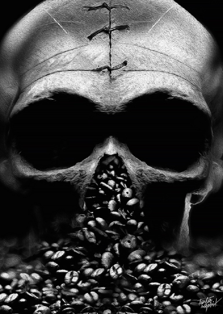 Image: Coffee beans pure out of a fractured skull in an art illustration by Obery Nicolas for 'The Coffee Art Project.'