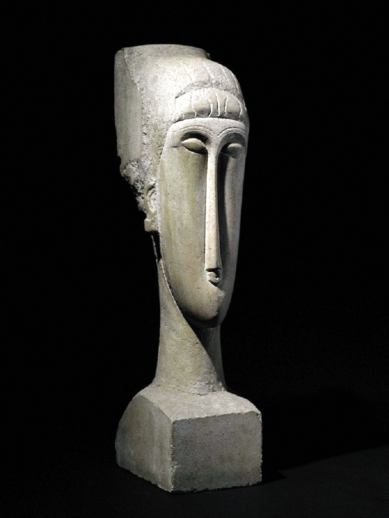Image: Tête, a sculpture  by Amedeo Modigliani,  made  record for the artist at auction