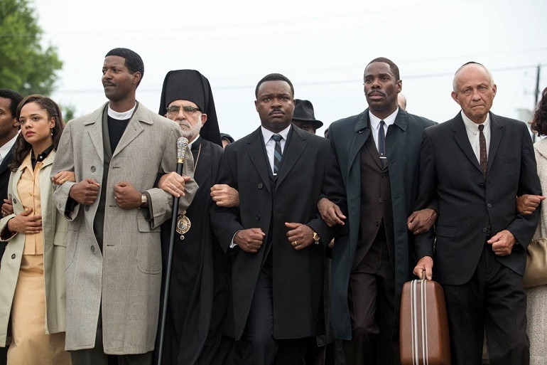Image: David Oyelowo -Martin Luther King Jr.- with other religious leaders and protesters in the movie Selma walk through the street in the quest for racial equality and the right to vote
