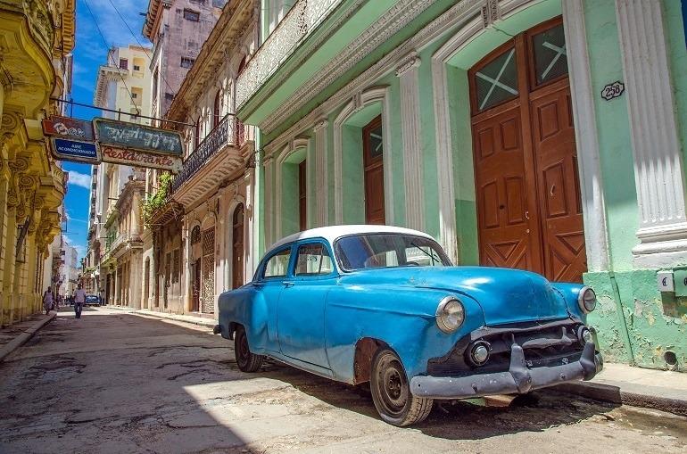 Image: Cuba Street with classical car in Havana Cuba