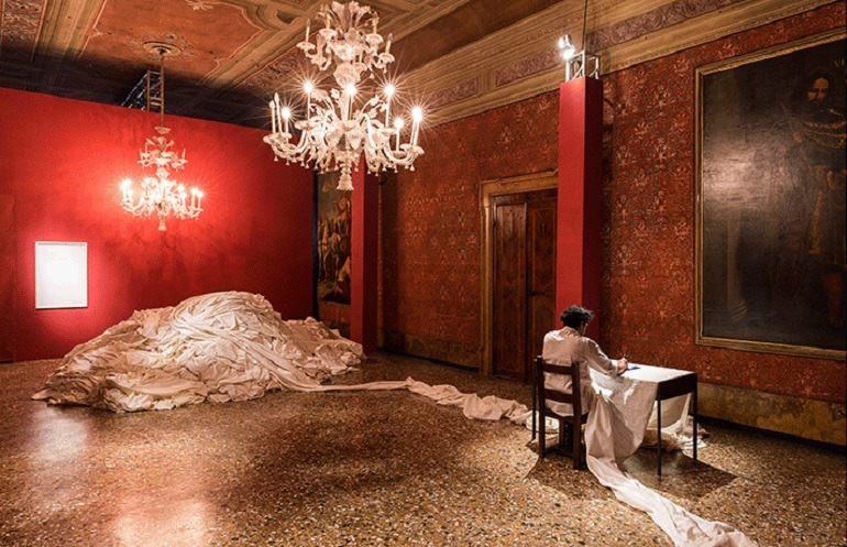 Image: Installation view of My East is Your West, an exhibition that investigates the historically conflicting nations of India and Pakistan  at Venice Biennale 2015