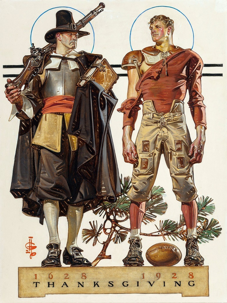 Image: Joseph Christian Leyendecker (American, 1874-1951), Thanksgiving, 1628-1928: 300 Years (Pilgrim and Football Player), The Saturday Evening Post cover, November 24, 1928