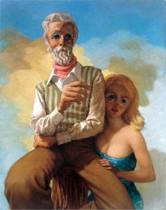 Image: John Currin, Entertaining Mr. Acker Bilk, 1995, Oil on canvas will be on display at Art Basel alongside Jeff Koons Cat on a Clothesline (Orange), 1994-2001