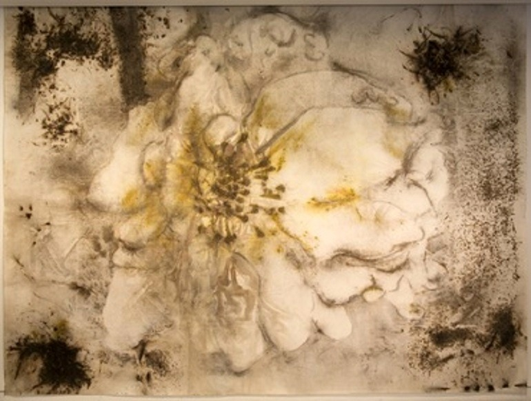 Image: Cai Guo-Qiang, A Cherry Blossom, gunpowder on paper, 2015 piece captures the importance of  the  Cherry Blossom flower to the Chinese-Flowere-Art