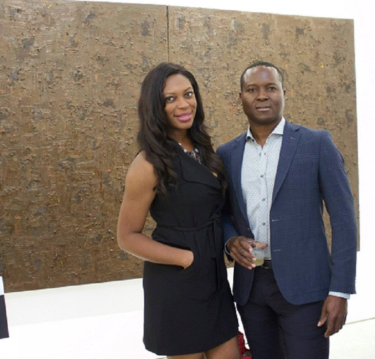 Fanbi and Onyeka Ibe at the opening of the exhibition Guess Who's Coming to Dinner?,