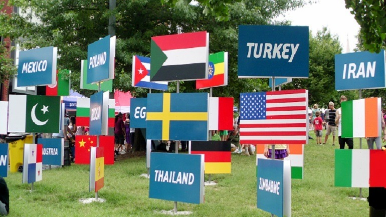 Image: Flags of different countries on display at Artscape festival. There were also ceramics on display. News