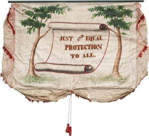 Image: Polk & Dallas: 'JUST AND EQUAL PROTECTION TO ALL'.  Double-sided jugate Political Campaign Banner from the 1844 campaign