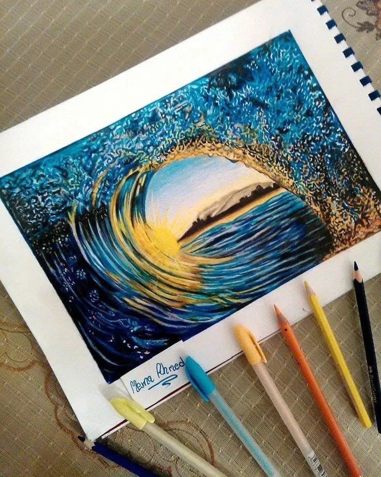 Image: Pen, color pencils, pencil drawing titled Praise God by Merna Ahmed