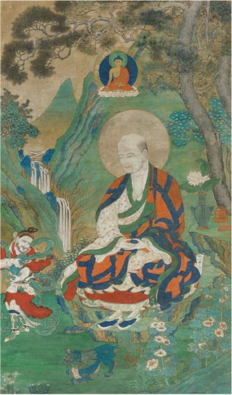 Image: Arhat Cudapanthaka, Sino-Tibetan, Ming Dynasty, 15th–early 16th century, distemper on cloth, 103 x 59.5 cm is one the works to feature at Fine Art Asia