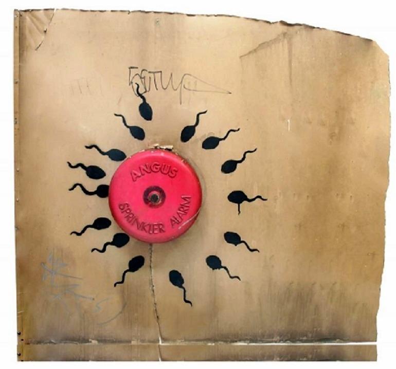 Image: Banksy, Sperm Alarm, 2011, aerosol on aluminum panel