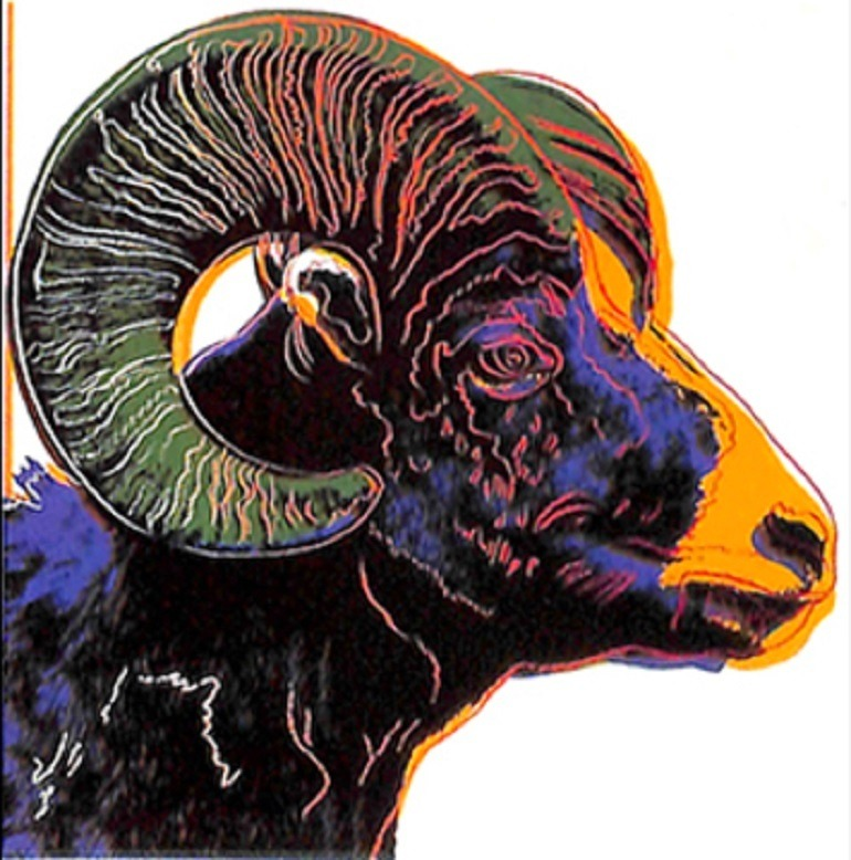 Image: Andy Warhol 'Bighorn Ram,' one of the nine silk-screen prints stolen from a business in Los Angeles-Warhol art