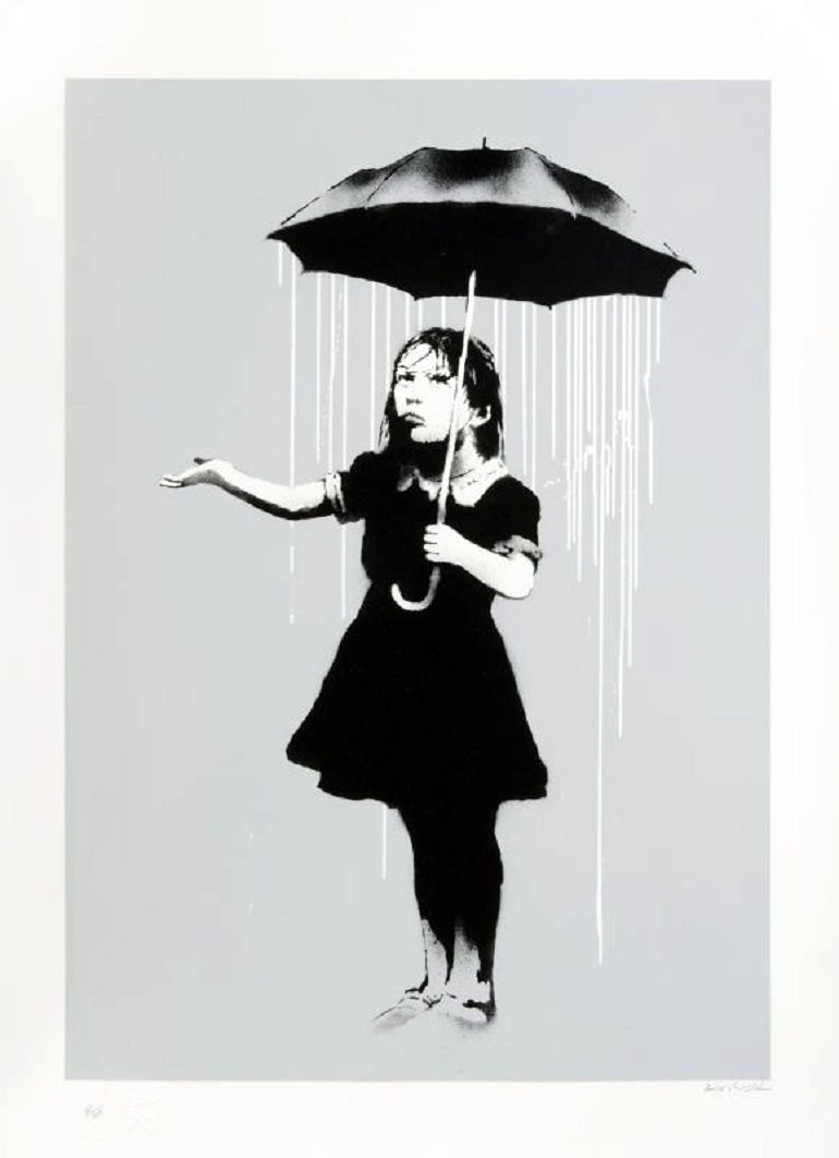 Image: NOLA 2009, a screenprint on paper by Banksy, is a great example of Banksy art sold at the Julian's Auctions