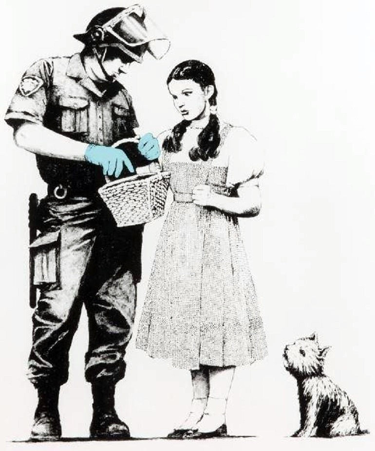 Image: Stop and Search 2007, a screenprint on paper by Banksy, is a important example of Banksy art sold at the Julian's Auctions