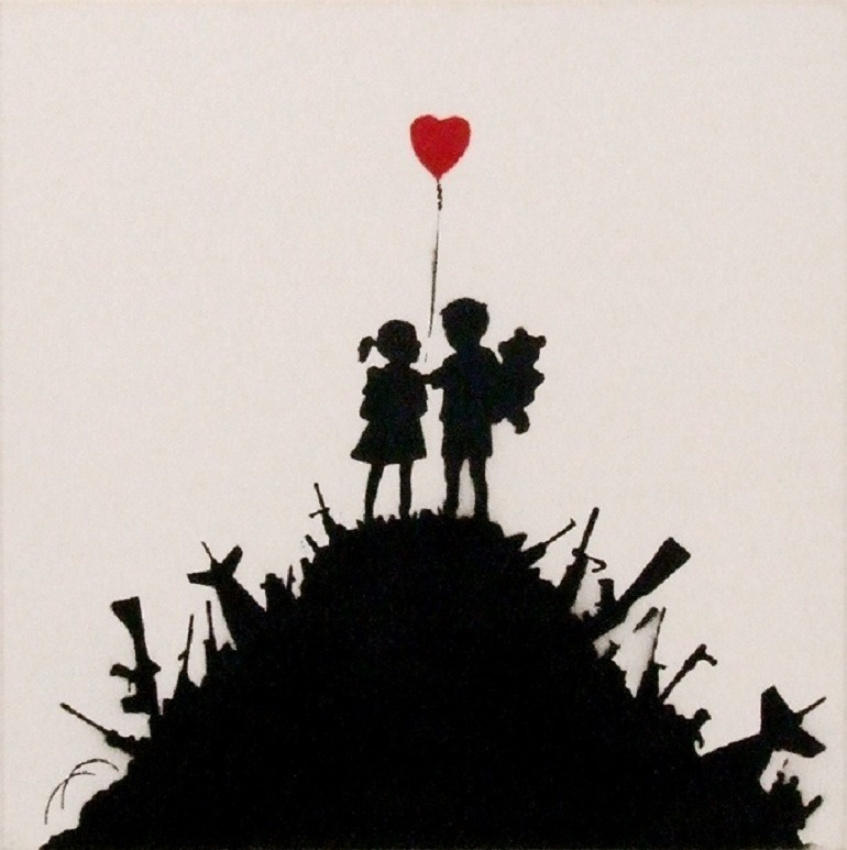 Image: Kids On Gun Hill by Banksy is one of the artworks in War, Capitalism & Liberty in Rome