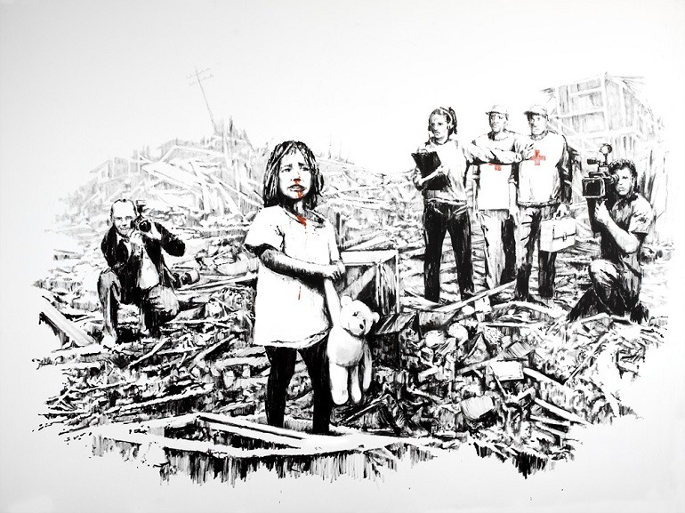 Image: Media in War by Banksy, an example of how the artist explores street art and graffiti art to make statements about social issues. Banksy Art