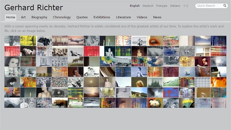 Home page of Gerhard -Richter Artist website