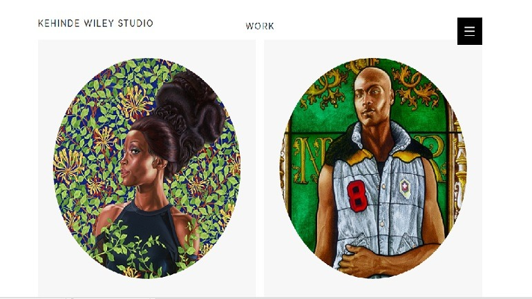 Image: Kehinde Wiley's website presents his artworks with cohesive theme, and that is why it is one of Artcentron.com top ten artist websites