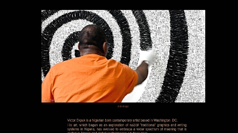 Image: A photography of Victor Ekpuk at work on the homepage of his website, one of Artcentron top ten artist websites
