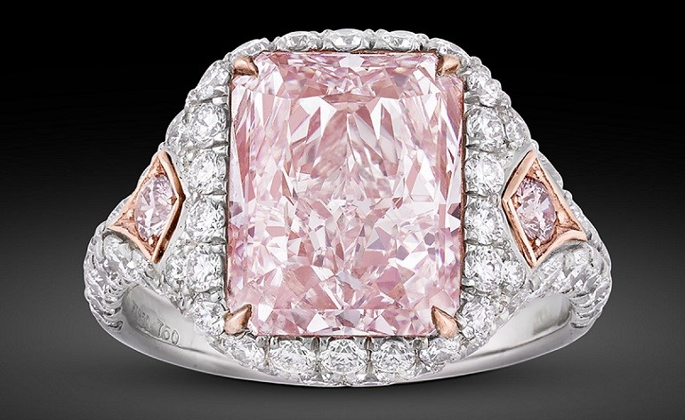 Image, 5.25-Carat Fancy Pink Diamond Ring set with pink and white diamonds in platinum and 18k rose gold, one of the antiques from M.S. Rau Antiques at the Baltimore Art, Antique & Jewelry Show