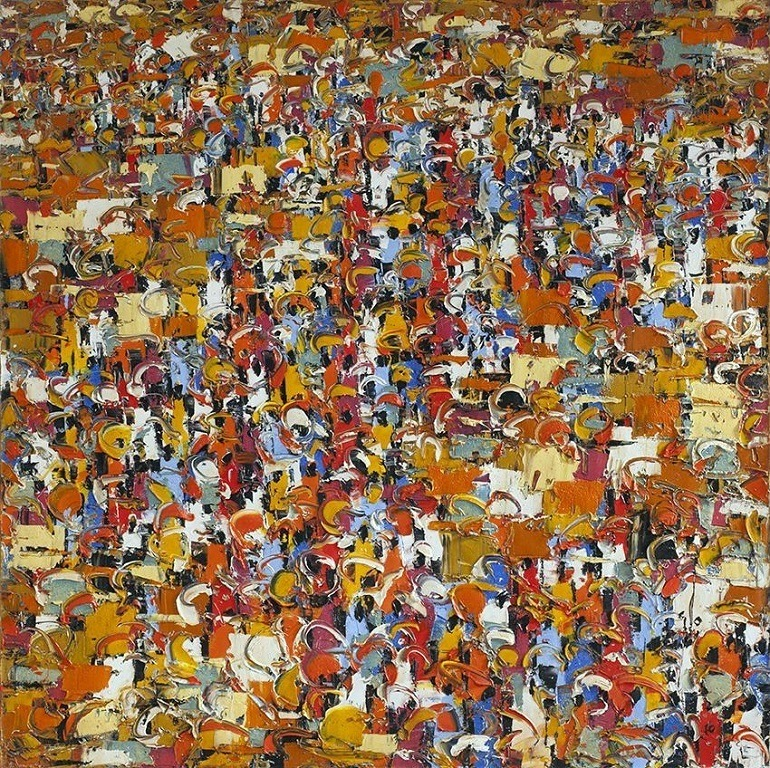Image: Market Innuendos, an oil on canvas by Ablade Glover, presented at the October Gallery during London Contemporary African Art Fair