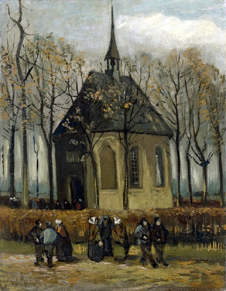 Image: Congregation Leaving the Reformed Church in Nuenen is one of the van Gogh paintings stolen from the Van Gogh Museum in 2004