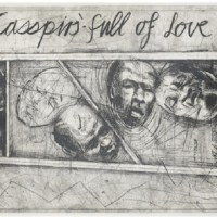 Casspirs Full of Love. an etching, by South African artist William Joseph Kentridge was one of the Top 10 Contemporary African Art Sold at Africa Now