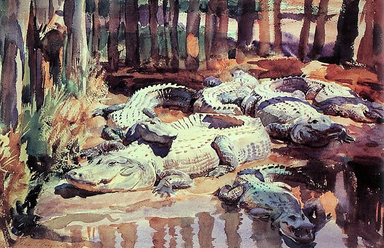 Image: Muddy Alligators, a watercolor painting by John Singer Sargent, is one of the paintings on display in American watercolor at the Philadelphia Museum of Art