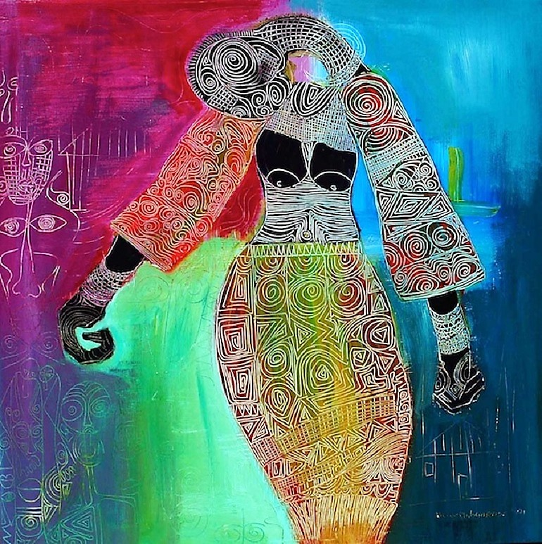 Woman in Trance, an acrylic on canvas by Victor Ehikhamenor, who will represent Nigeria at the 2017 Venice Biennale