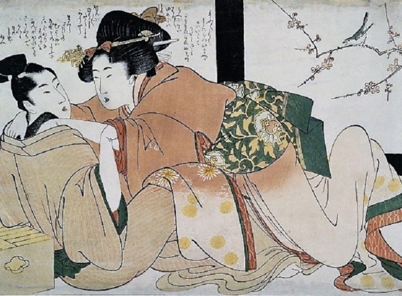 Image: Courtesan and Client in Brothel by Kitagawa Utamaro on display at the Japan Society is one of the works on display as part of the Pride Month celebrations in galleries and museums