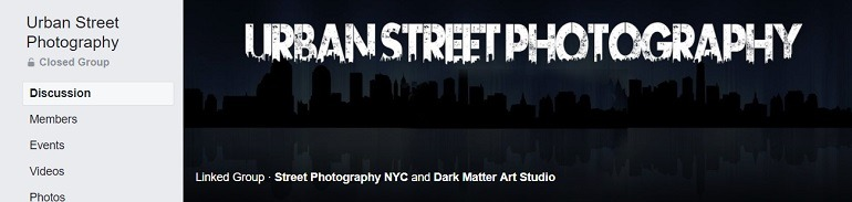Image: A black and white banner of the Urban Street Photography Group, one of the Facebook Photography Groups that provide Photography tutorials and photography tips for aspiring and amateur photographers