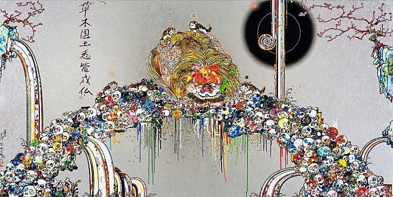 Image: Lion Peering into Death's Abyss, an Acrylic, gold leaf and platinum leaf and gold on canvas mounted on aluminum frame by Takashi Murakami, one of the famous artists whose works will be part of the fall art exhibitions at Garage Museum of Contemporary Art