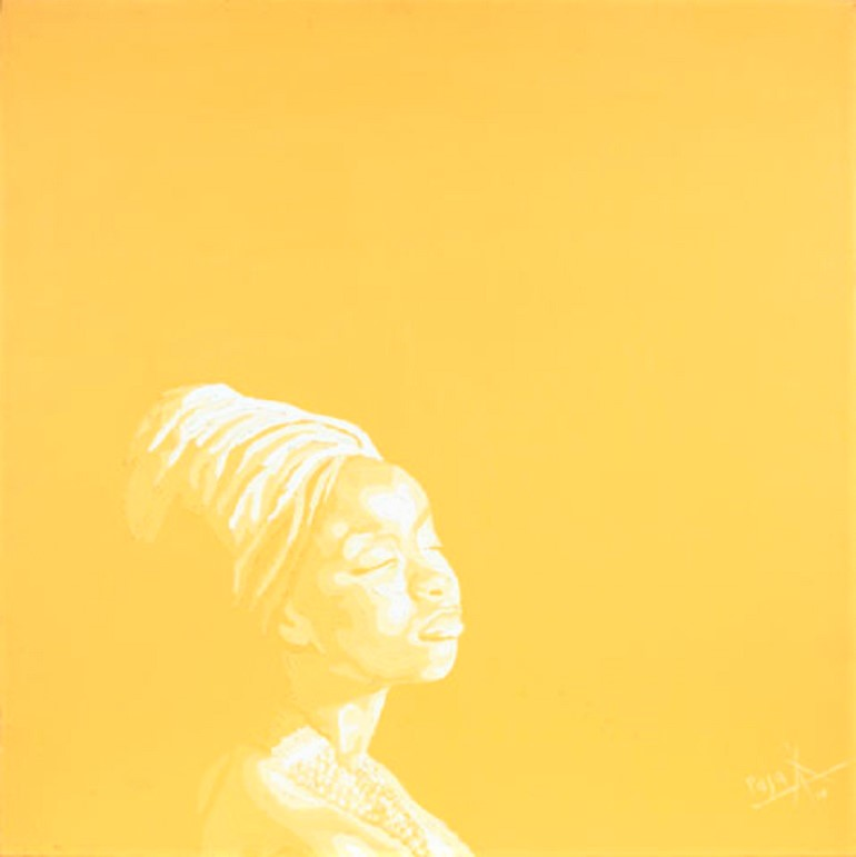 Image: Orange Diptych, an oil on canvas portrait painting by Peju Alatise, one of the young Nigerian artists whose works had a great showing at the Bonhams Africa Now: Modern & Contemporary African Art sale in London