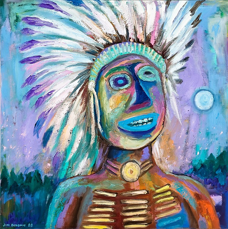 Image: Blue Eyed Chief, an oil on canvas by Native American artist Jim Denomie on display at the Eiteljorg Museum as part of the Native Art Now exhibition