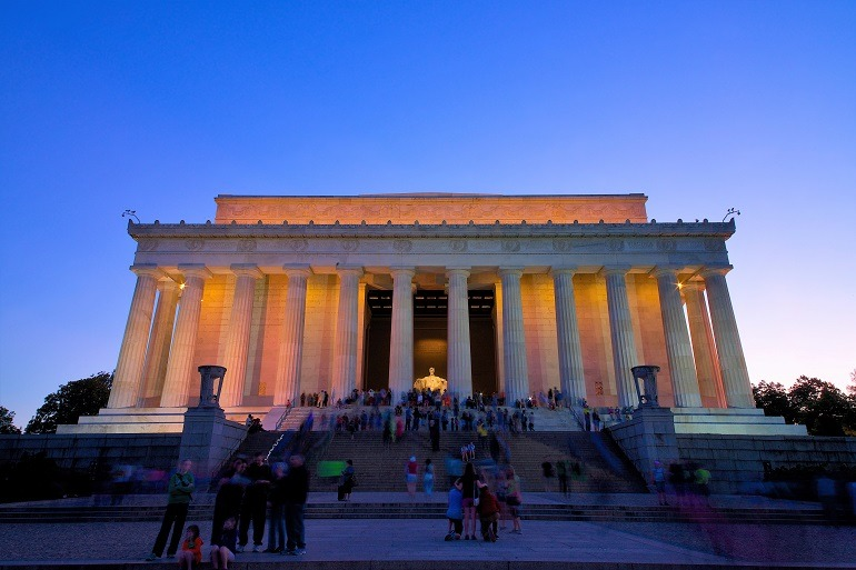 Image: The elevation of the Lincoln Memorial Dusk in Washington DC , a must visit for vacationers in Washington DC
