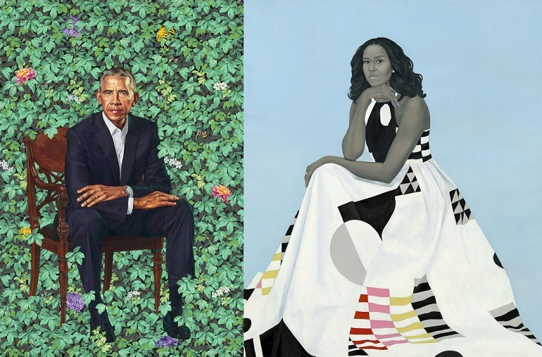 Image: Portraits of Barack Obama by Kehinde Wiley and Michelle Obama by Amy Sherald unveiled at the National Portrait Gallery, Smithsonian Institution