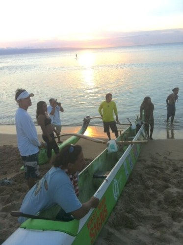 sea burial - outrigger ready for family